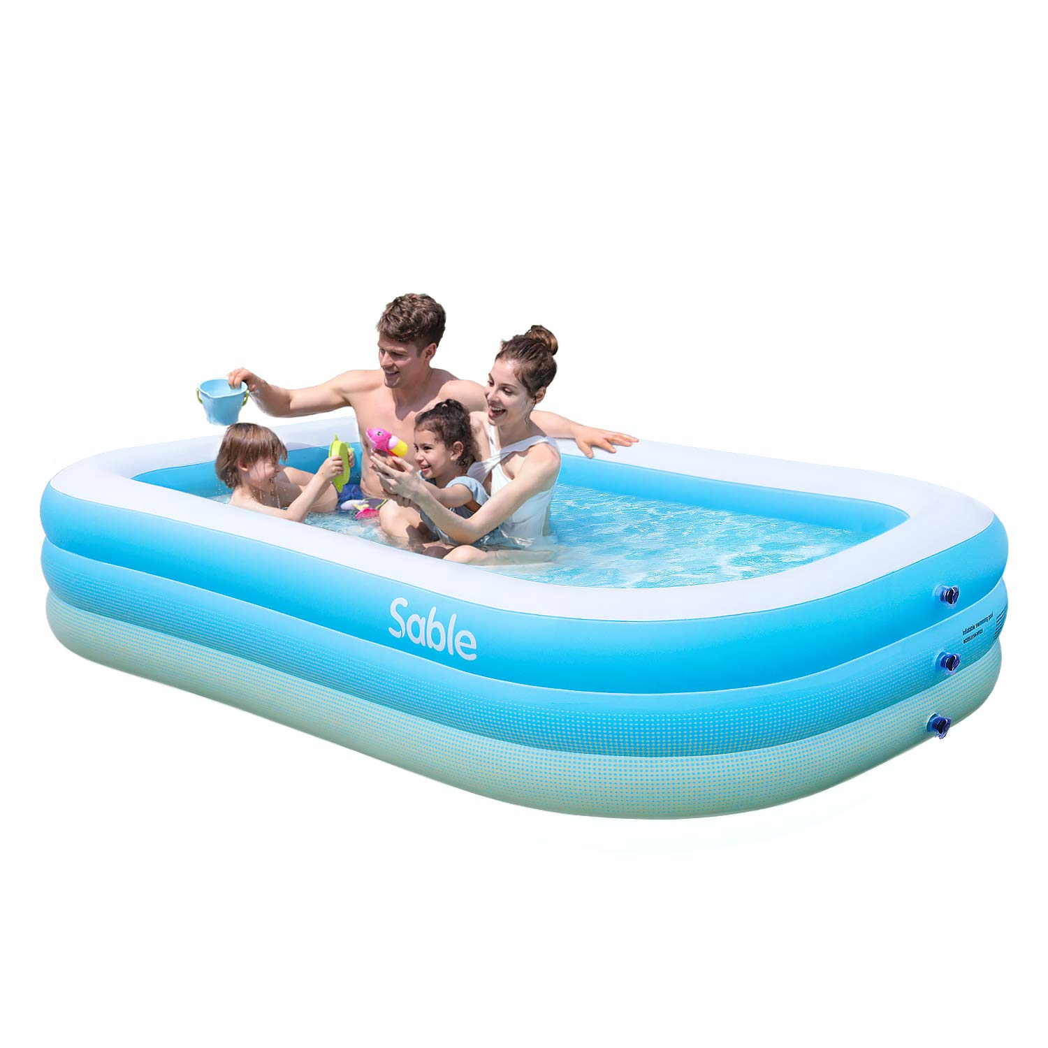 """Sable Inflatable Pool, Blow up Kiddie Pool for Family, Garden, Outdoor, Backyard, 92"""" X 56"""" X 20"""", for Ages 3+"""
