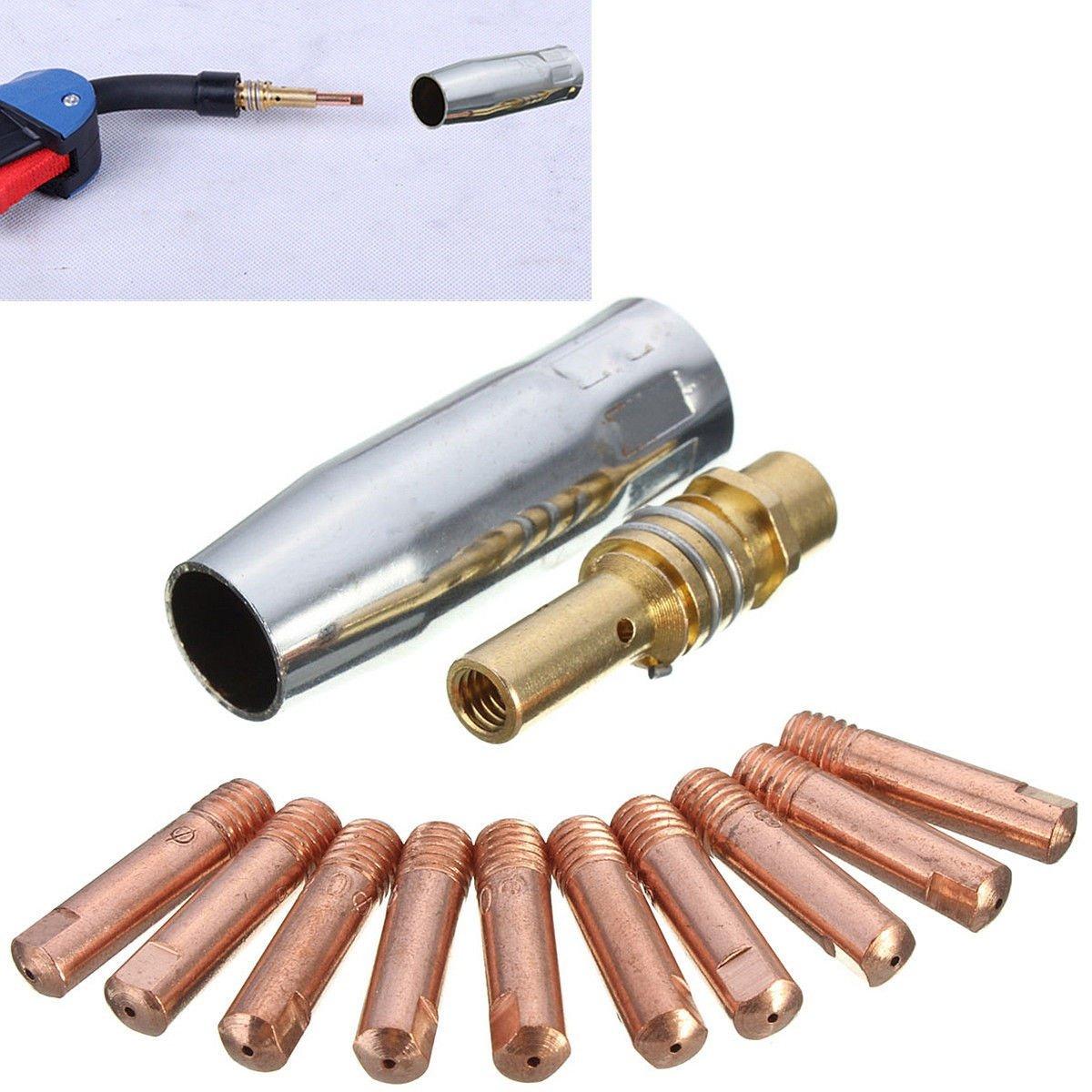 lzn nozzleshr Oud 12pcs MB 15 AK Mig/Mag Soldadura Contacto Consejos 0.8 x 25 mm M6 gas boquilla Tip plana Gas Protegidas sudor Grabadora accesorios: ...