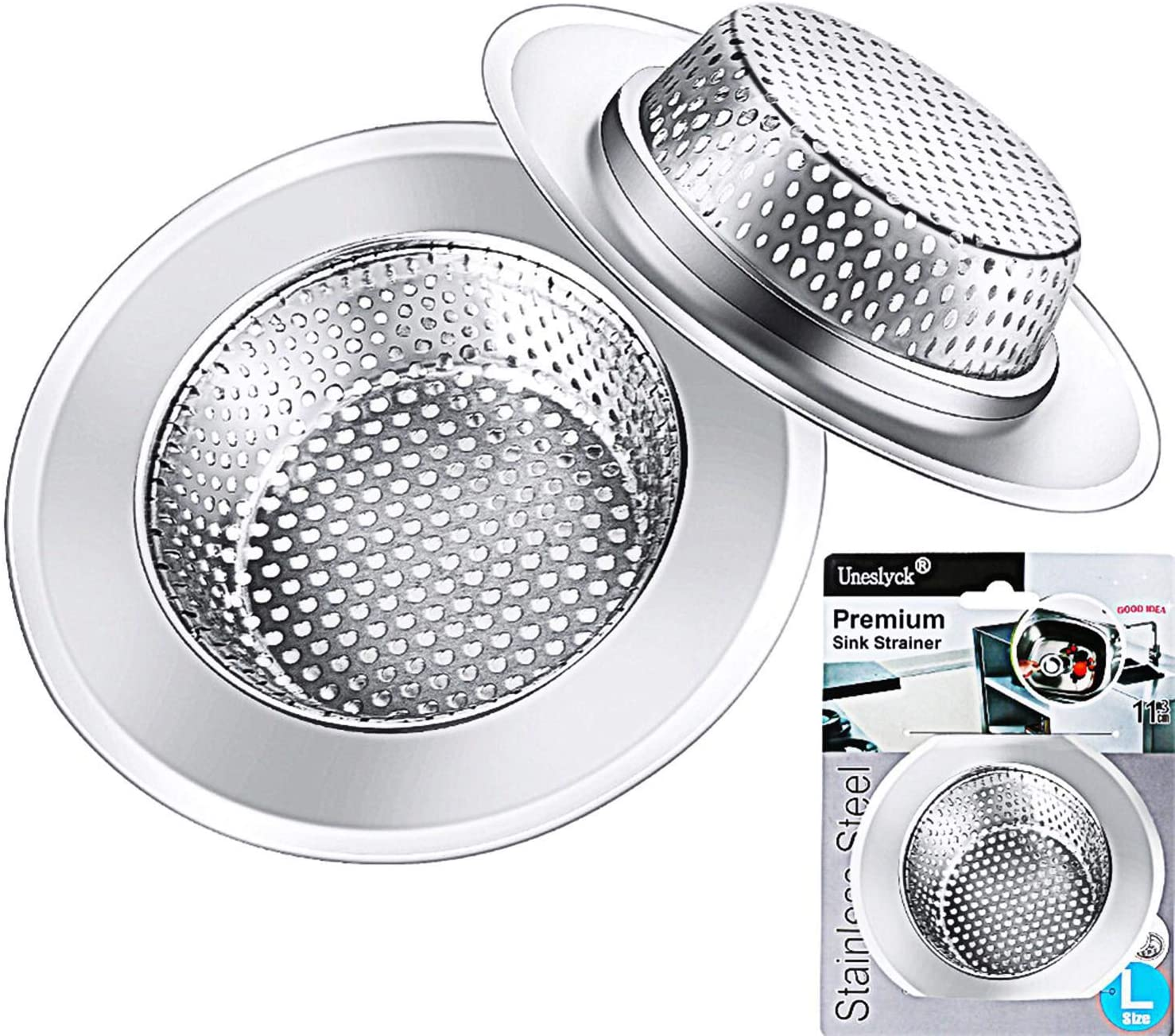Kitchen Sink Strainer Basket Drain Catcher 2 Pack 4 5 Diameter Wide Rim Premium Stainless Steel Sink Disposal Stopper Anti Clogging Micro Perforation 2mm Holes Basket Drains Sieve Rust Free Amazon Com