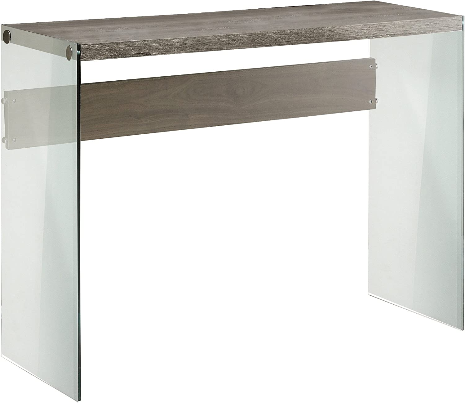 "Monarch specialties I 3055, Console Sofa Table, Tempered Glass, Dark Taupe, 44""L"