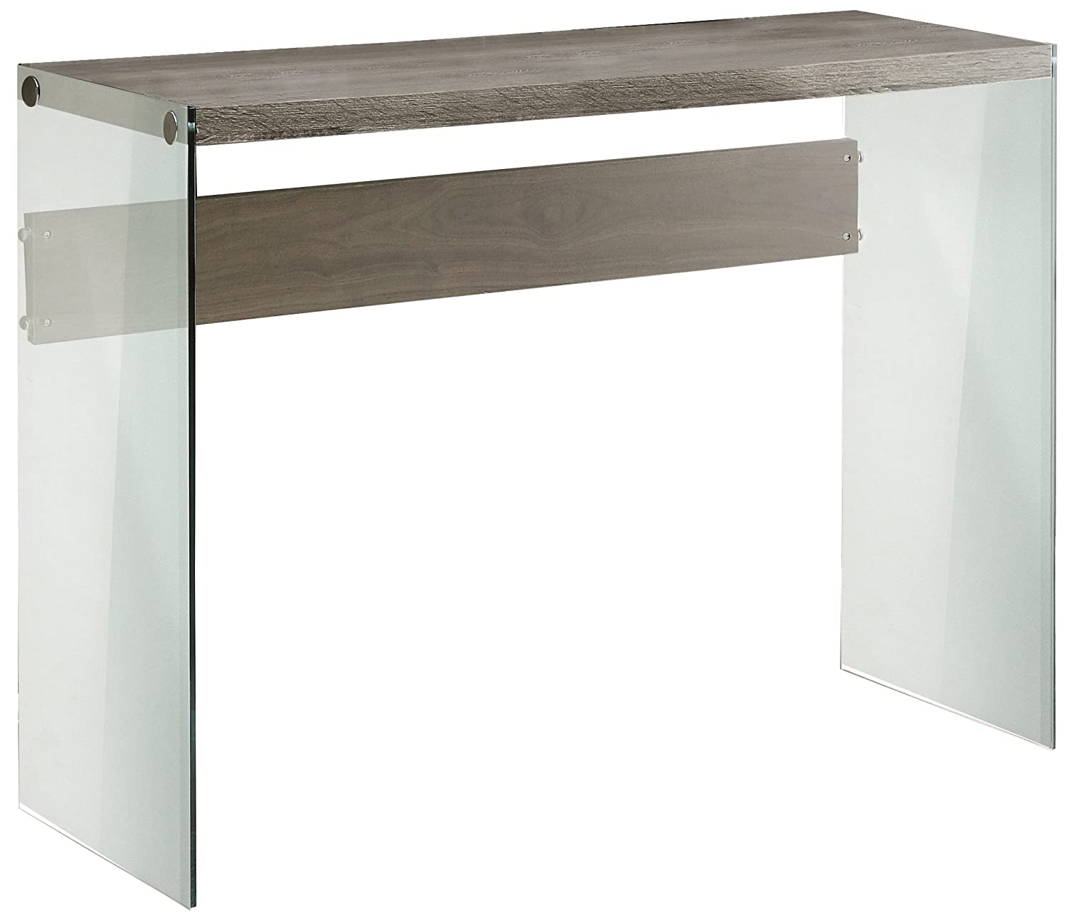 Monarch Specialties Reclaimed-Look/Tempered Glass Sofa Table, Dark Taupe I 3055