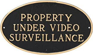 "product image for Montague Metal Products Property Under Video Surveillance Statement Plaque, Black with Gold Letter, 6"" x 10"""