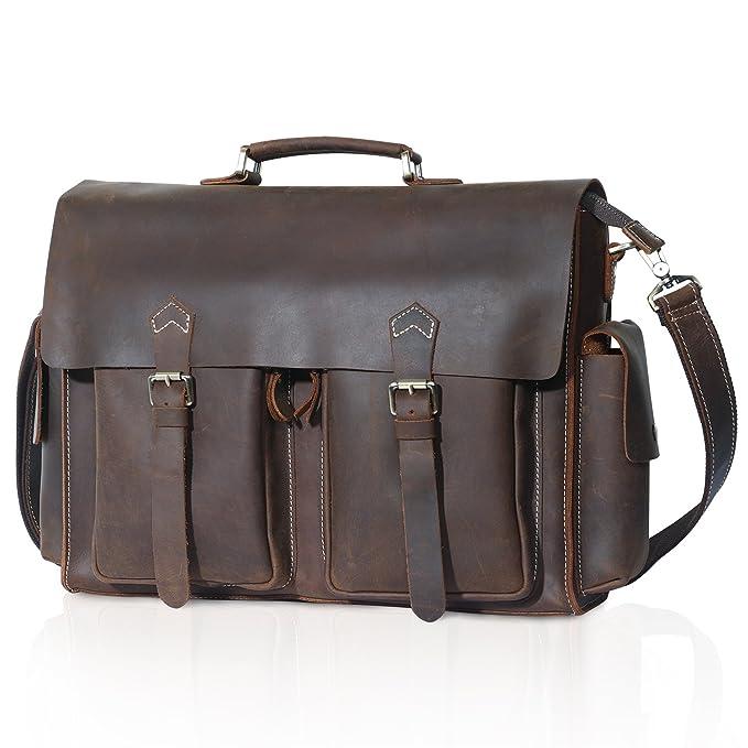 Lifewit Men s Leather Briefcase Laptop Bag Office Messenger Satchel  Shoulder Computer Bags Fit up to 15.6