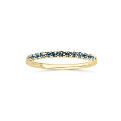 cb2fc7af5 Amazon.com: 14K Gold Genuine Blue Topaz Stackable 2MM Wedding Anniversary Band  Ring- December Birthstone: Jewelry