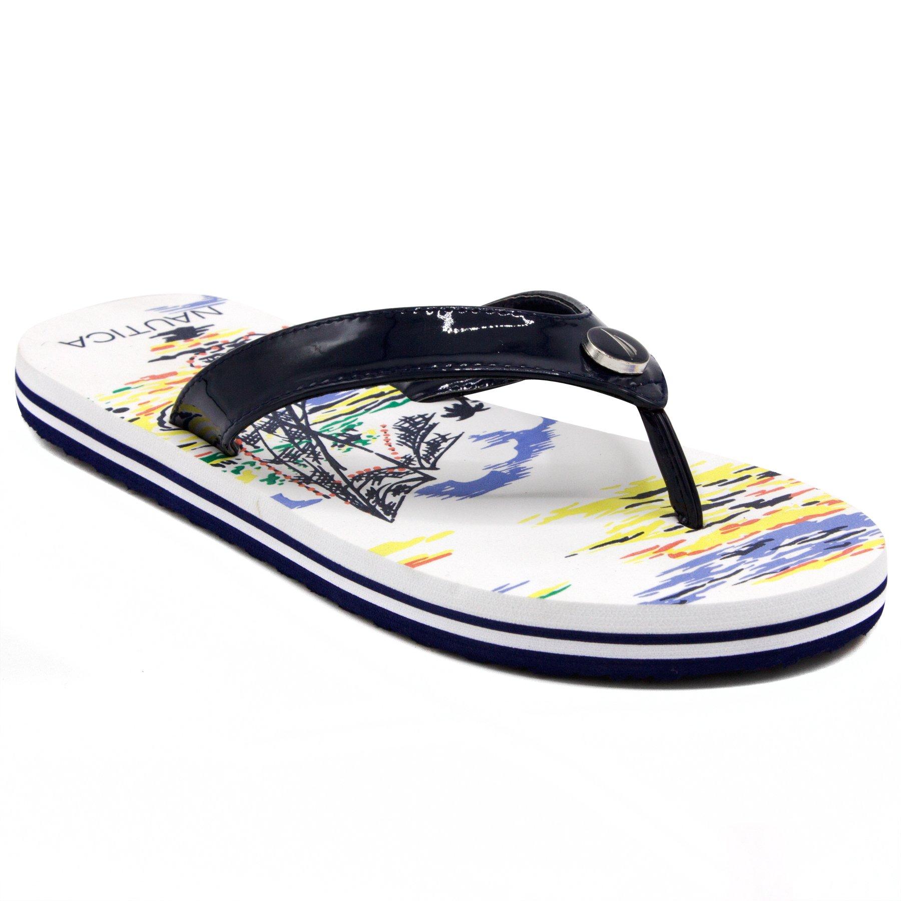 Nautica Women's Bernic Flip Flop, Beach Sandal Slide Hawaiian Style Tropical Print, Comfort Thong-Navy-8