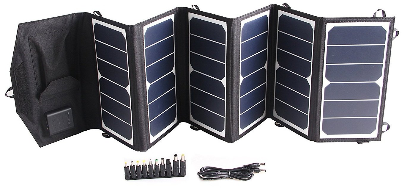 TOPDC 39W Solar Panel Charger Portable Waterproof SunPower Solar Charger (5V USB + 18V DC) for Cell Phone, Laptop, Tablet, iPhone, iPad, iPod, Airpods, Headphone and More