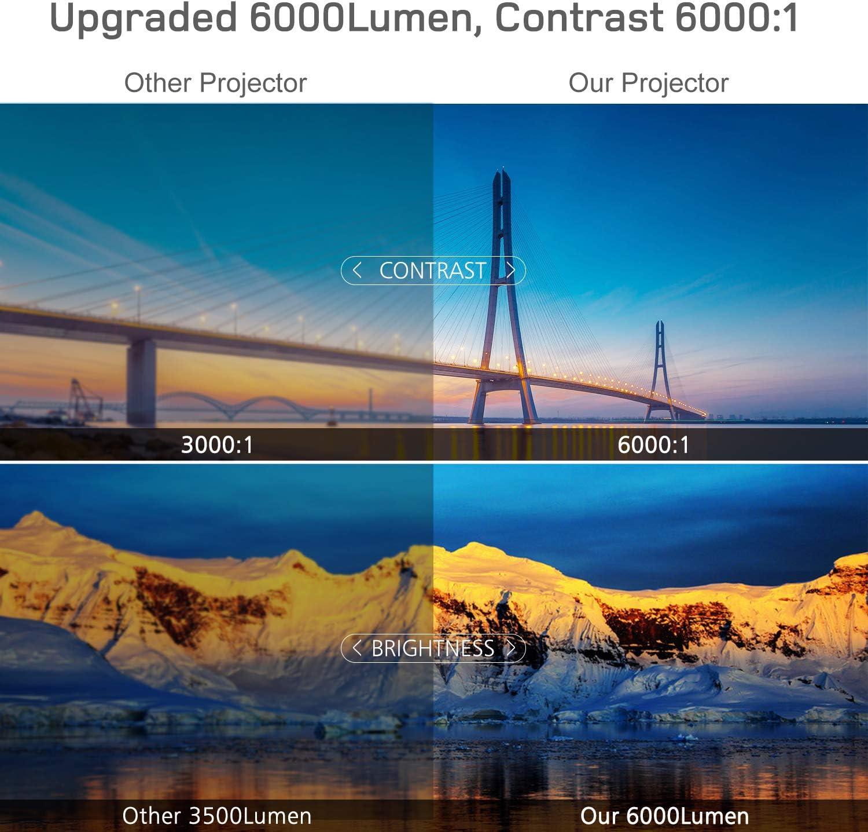 Heimkino Projektor Verbindung mit HDMI VGA SD USB AV Ger/ät BOSNAS Beamer 6000 Lumen Multimedia Full HD Video-Beamer unterst/ützt 1080P Full HD LED 50000 Stunden mit max 200 Display