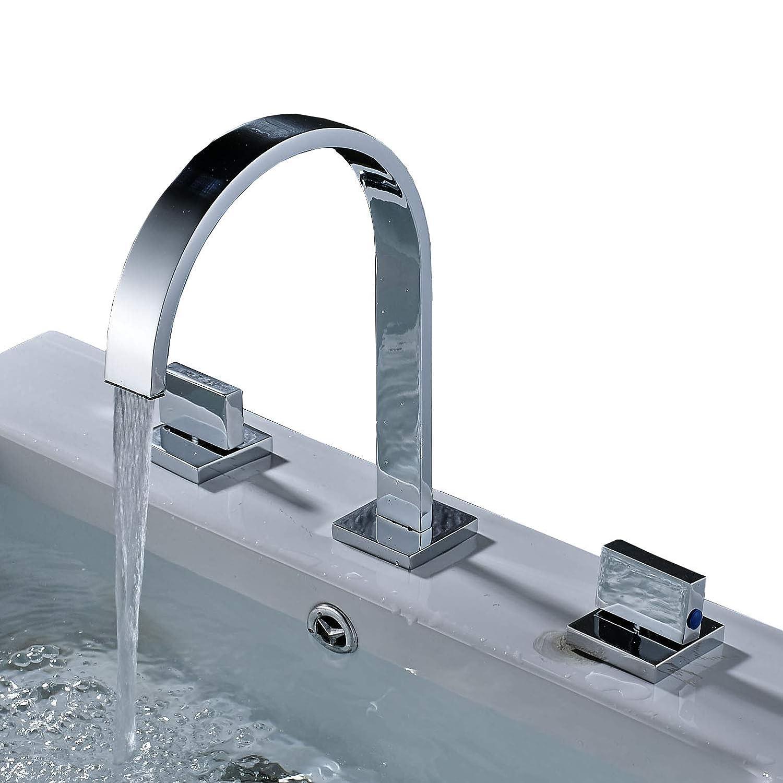 Rozin Two Handles Bath Mixer Taps Widespread Waterfall Bathroom Sink ...