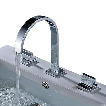 Rozin Two Handles Bath Mixer Taps Widespread Waterfall Bathroom Sink