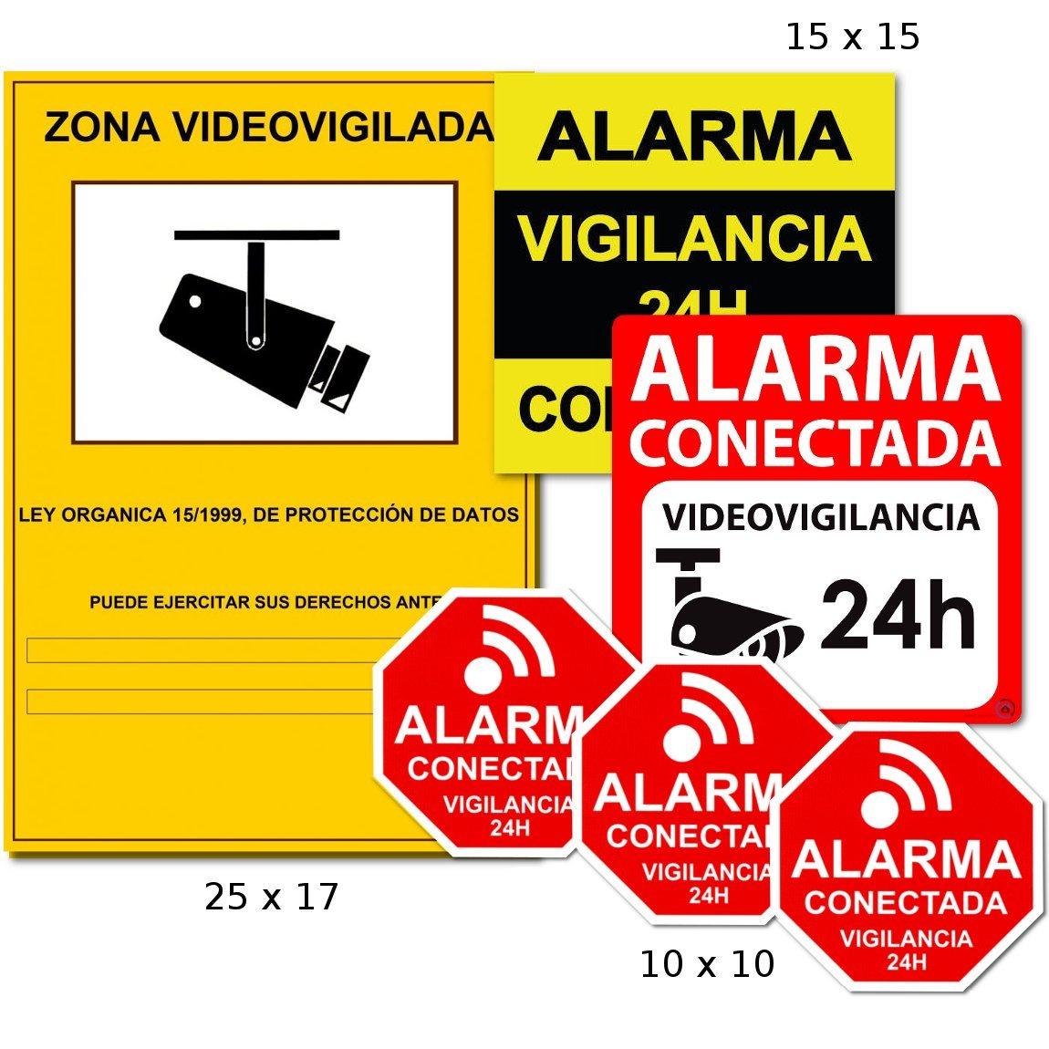 AAPC -Pack 6 vinilos disuasorios Zona Videovigilada CCTV ...