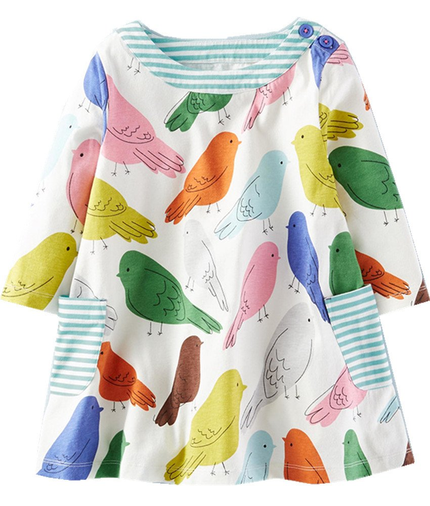 Toddler Little Girl Long Sleeve Cotton Cartoon Applique Strip Shirt Party Dress,5T/120cm,1#colorfulbird