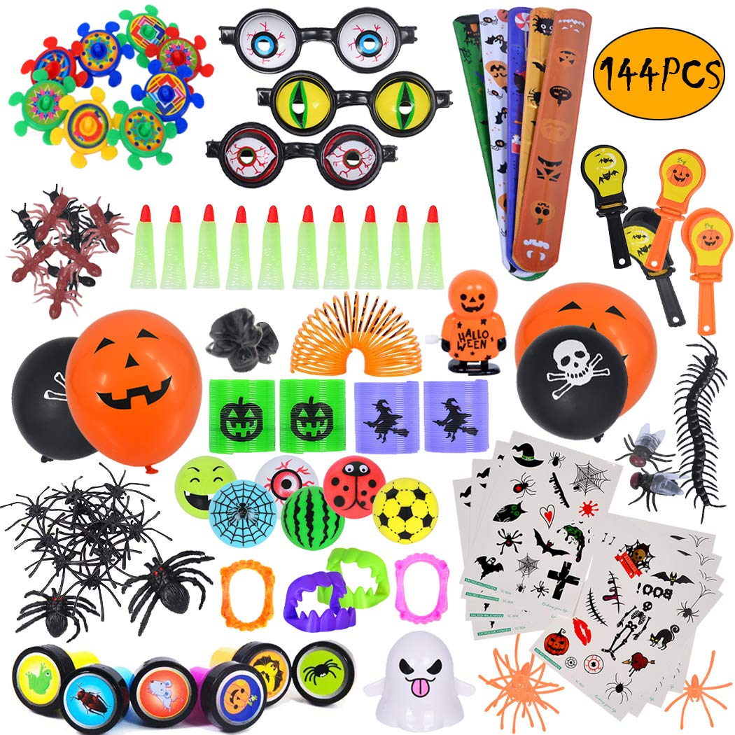ebuddy 144pc Halloween Toys and Novelty Assortment for Halloween Party Favors, School Classroom Rewards, Trick or Treating, Halloween Miniatures, Halloween Prizes by ebuddy