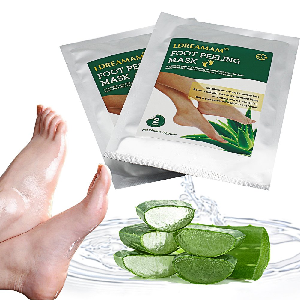 Foot Peel Mask,Exfoliating Foot Mask,Peeling away Calluses and Dead Skin Remover,Repair Rough Heels,Make Your Feet Baby Soft,Natural Aloe Extract-2 Pack by LDREAMAM (Image #5)