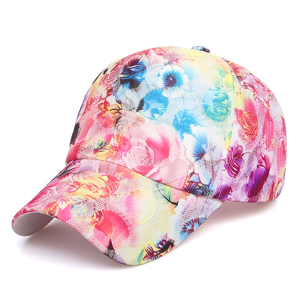 Newest trent Perforated Adjustable Sport Mesh Cap Sun Hat, Flower Floral Print Baseball Cap Golf Hats Tennis Hat for Women girls (Style#2 C)