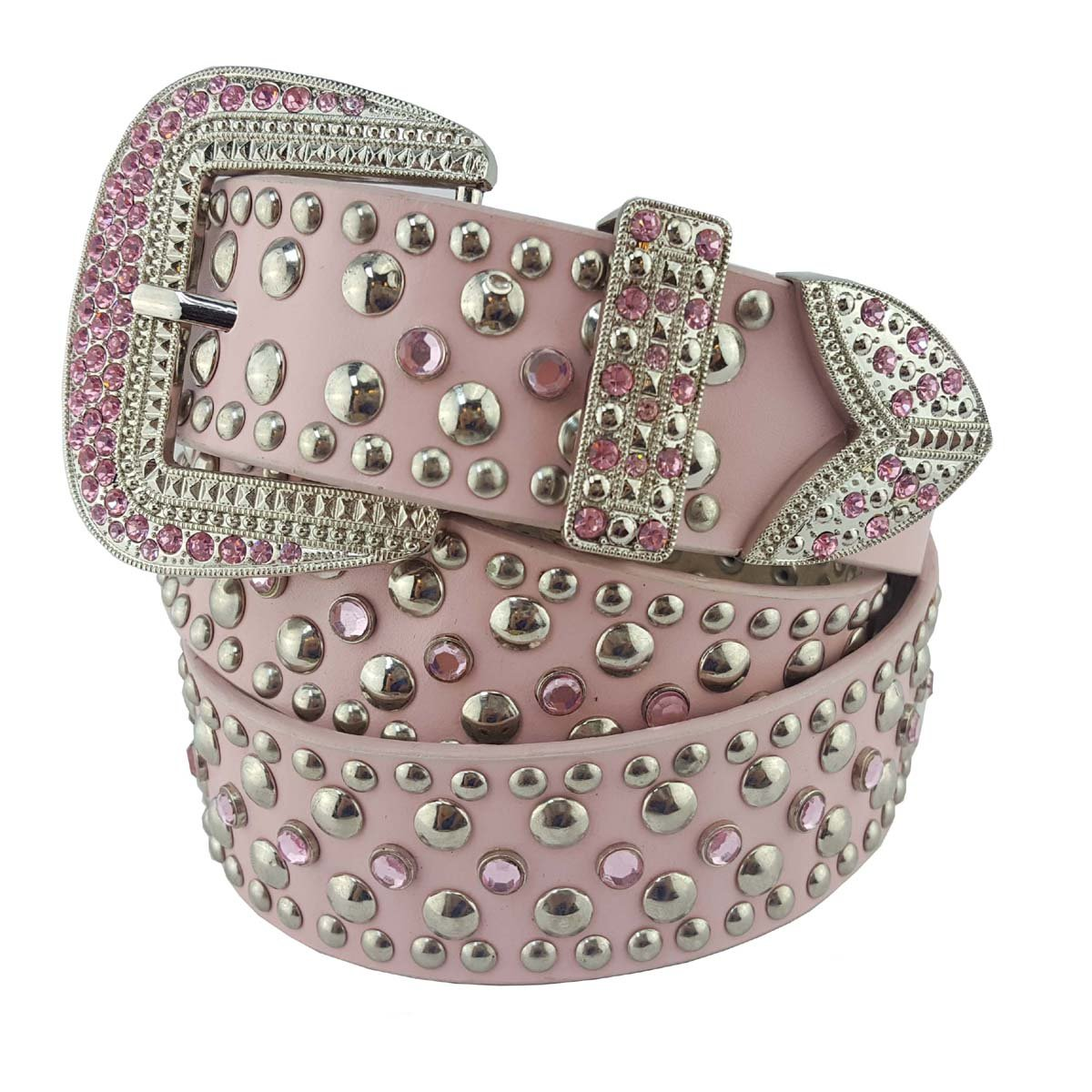Western Stud and Crystal Belt in Pink LXL