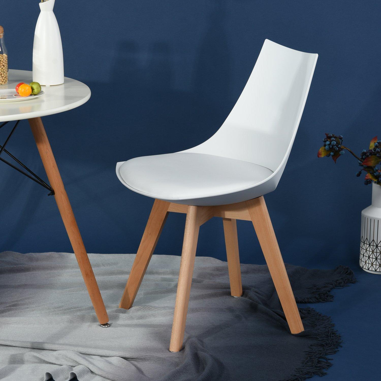 Pack de 2 sillas de comedor oficina haya madera y for Sillas de oficina de madera