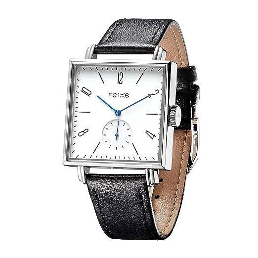 Relojes para Hombre FEICE Relojes Mecánicos Automáticos de Pulsera de Acero Inoxidable y Cuero Reloj Cuadrado