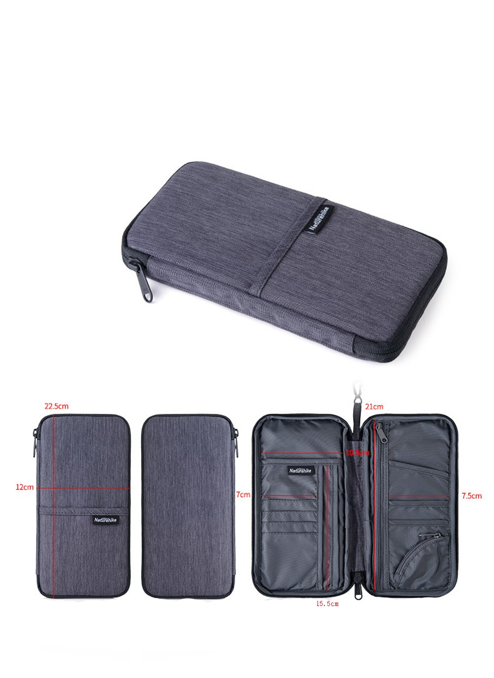 LOLPI Multi-function Wallets cash passport storage package gray