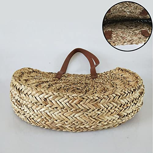 Amazon.com: Bamboo straw beach bag - Vintage semi-circle bag - Handmade handbag - Straw beach bag lady: Shoes