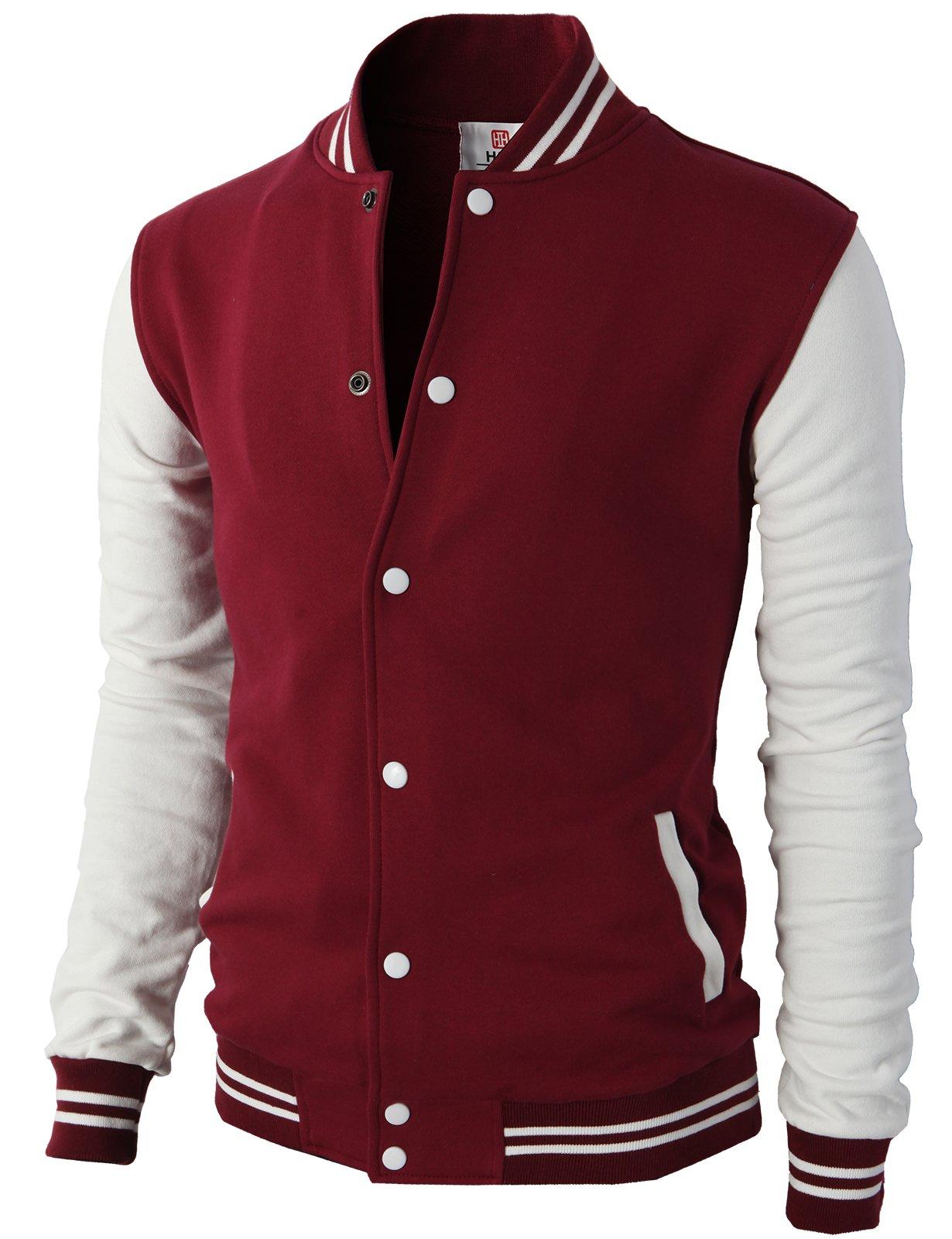 H2H Mens Slim Fit Varsity Baseball Bomber Cotton Lightweight Premium Jacket  Cmoja083-wine XX-Large by H2H