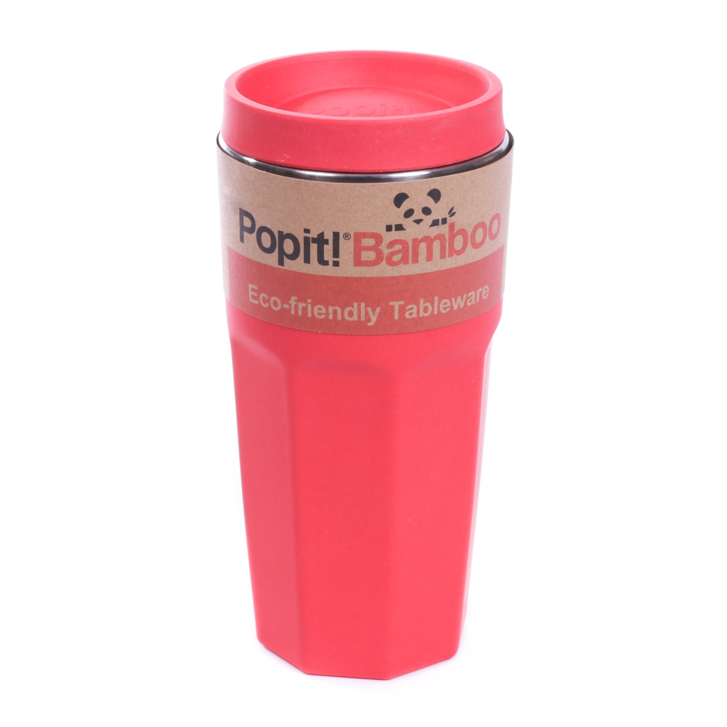 Coffee Travel Mug - Eco-Friendly, Fits Most Cup-holders - 15 Oz. / 450ml Travel Tumbler, Stainless Steel, Cool Colors, Made out of Bamboo Fiber - The Bamboo Travel Mug, by Popit (Candy Red)