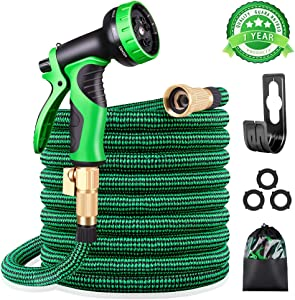 "KURTVANA Expandable Garden Hose with 9 Function Nozzle,Durable Flexible Water Hose,3/4"" Solid Brass Connectors,Extra Strength Fabric, Lightweight Expanding Hose(25ft+5ft)"