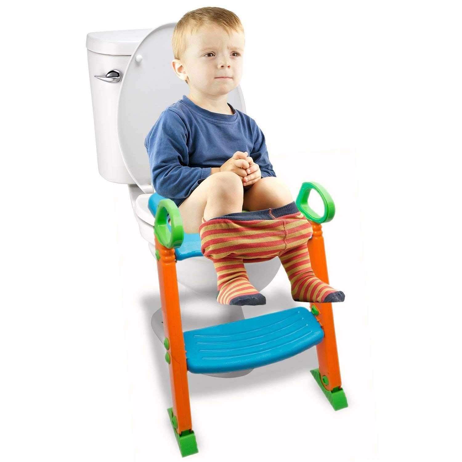 Potty Toilet Seat with Step Stool ladder, (3 in 1) Trainer for Kids Toddlers W/ Handles. Sturdy, Comfortable, Safe, Built In Non-Slip Steps W/ Anti-Slip Pads. Excellent Potty Seat Step Boys Girls Baby by Alayna (Image #2)