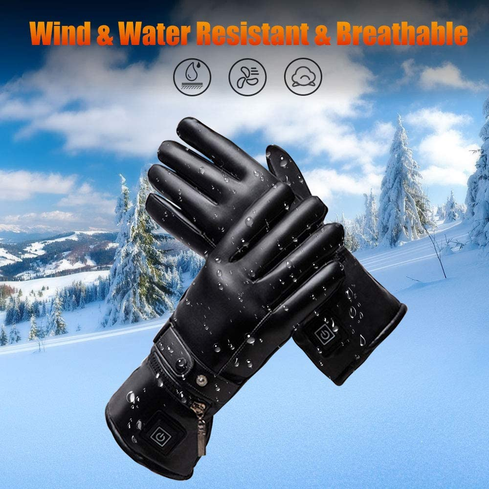 Loiion Heated Leather Gloves for Women Men Battery Powered Electric Heating Gloves Touchscreen Thick Thermal Winter Driving Gloves for Skiing Hiking Cycling Climbing