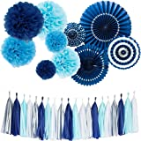 Monkey Home Tissue Paper Tassel Tissue Paper Pom Poms Flowers Paper Fans Kit For Party Decorations Wedding,Festival,Party Decoration (Navy)