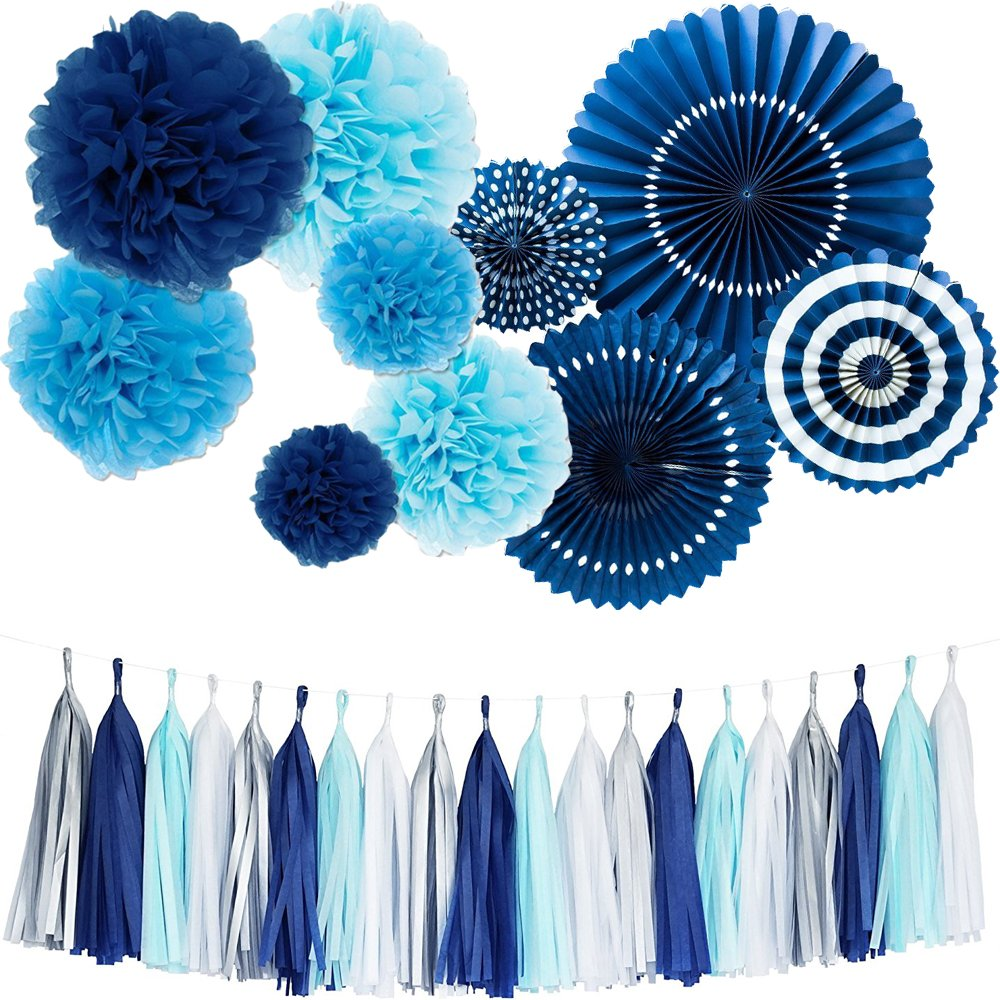 Monkey Home Tissue Paper Tassel Tissue Paper Pom Poms Flowers Paper Fans Kit For Party Decorations Wedding,Festival,Party Decoration (Navy) by Monkey Home