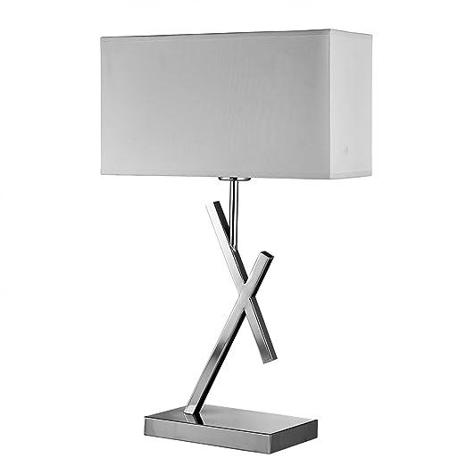 Searchlight Acute Table Lamp Chrome White Fabric Shade 7901CC Light