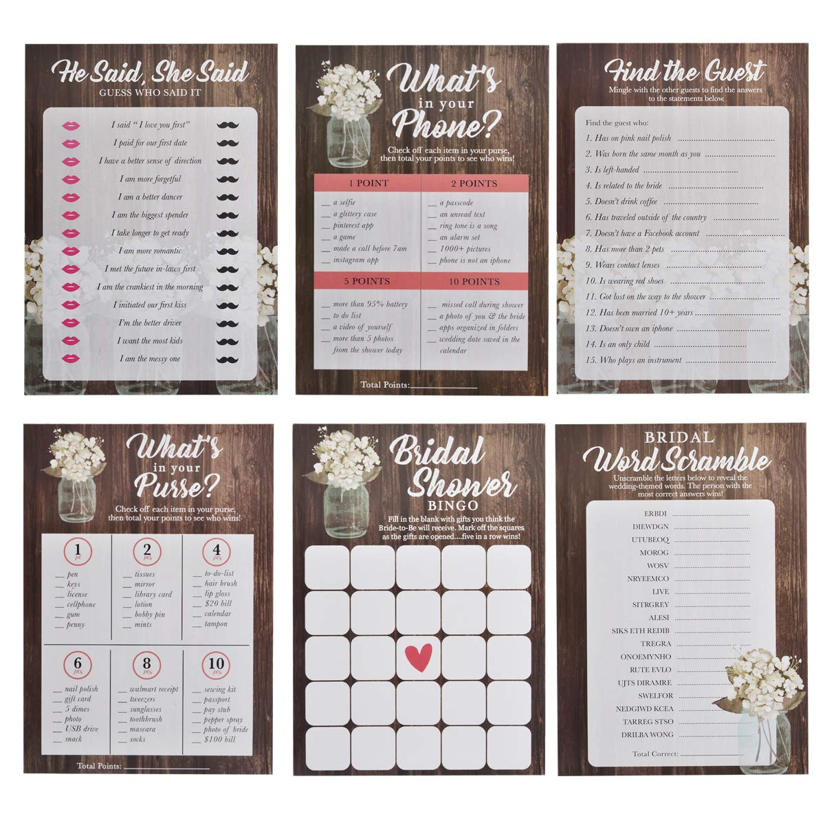 Mason Jar Bridal Shower Games, 6 Design | 30 Sheets Each | Wedding Advice & Games Cards for Guests Include Bridal Shower Bingo- He said, She, Said Bridal Shower Games for Guests Also Suit Anniversary by Brightone