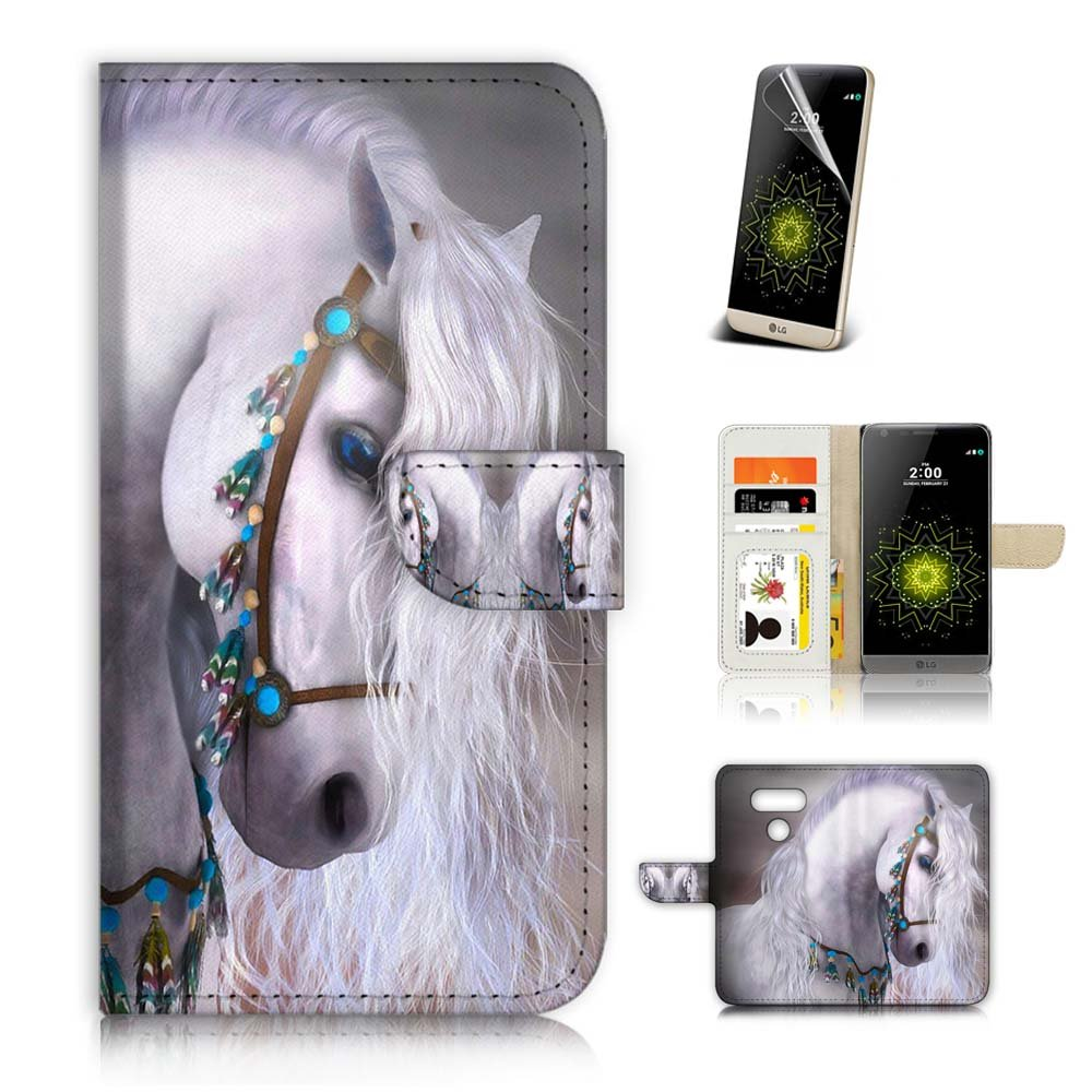( For LG G6 ) Flip Wallet Case Cover & Screen Protector Bundle! A20470 Princess Horse