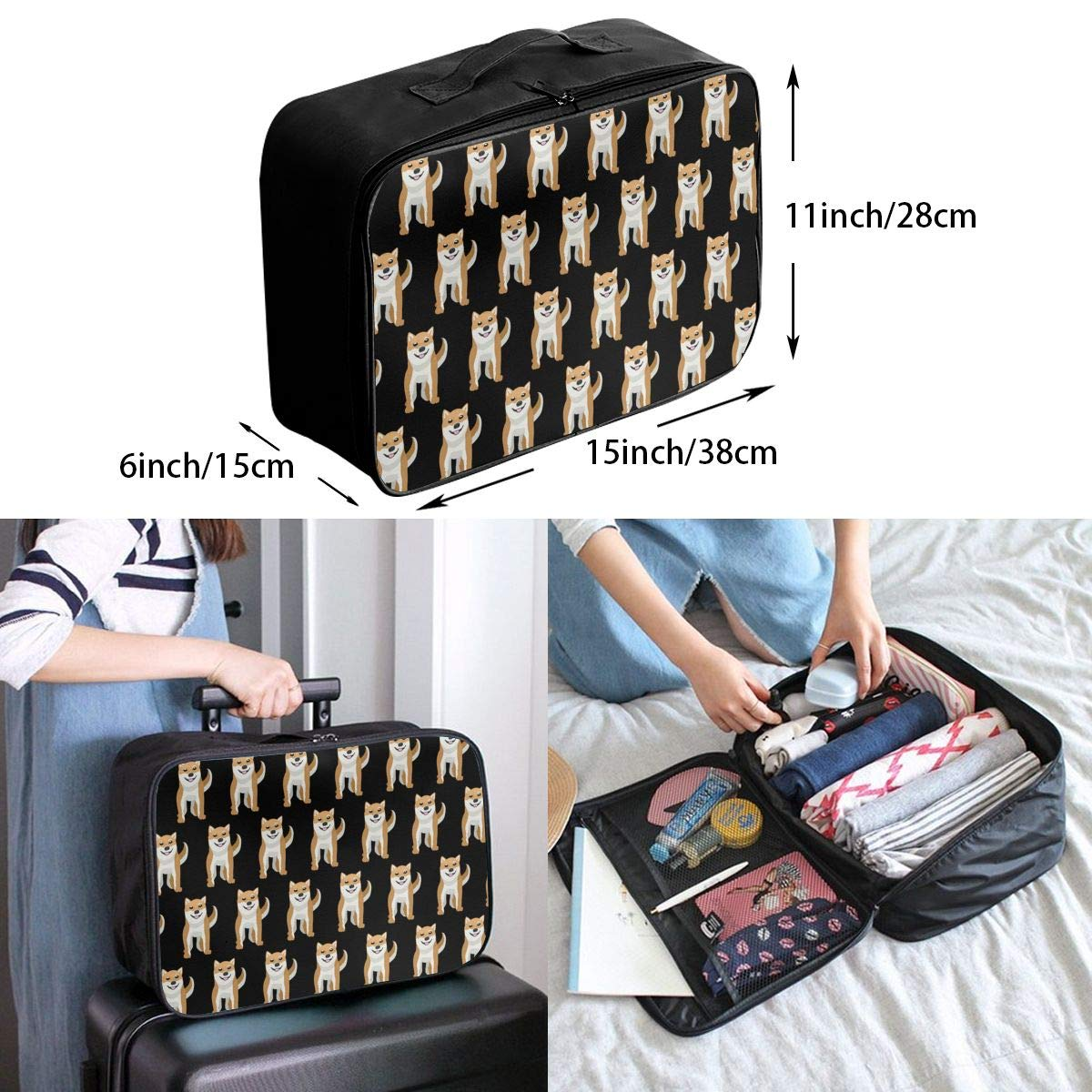 YueLJB Cute Shiba Inu Lightweight Large Capacity Portable Luggage Bag Travel Duffel Bag Storage Carry Luggage Duffle Tote Bag