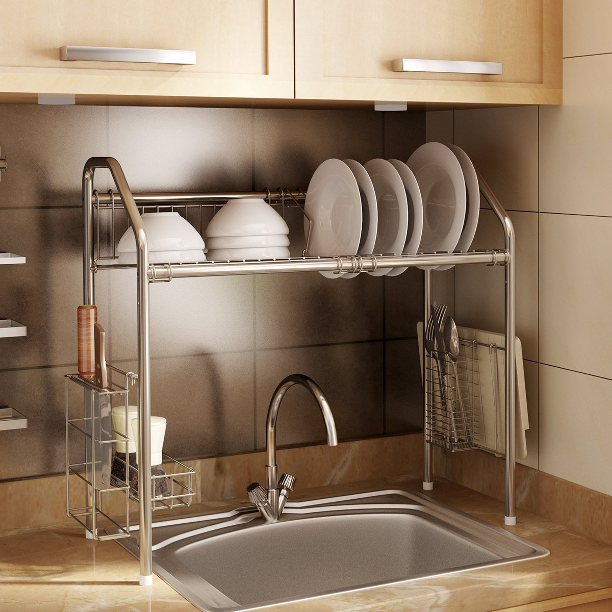 33a2949fcc9b Amazon.com: CreaTwo Single Tier Stainless Steel Dish Rack Adjustable Dish  Drainer Over Sink Kitchen Storage Shelf for Single Groove Silver: Kitchen &  Dining