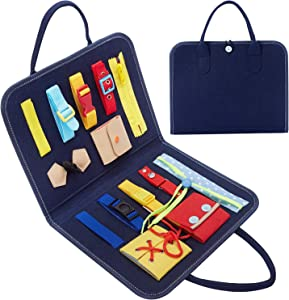 HAN-MM Busy Board Montessori Toys for Toddlers Foldable 14 PCS Sensory Toys Autism Toys Bag Desgin, Toddler Activity Board - Educational Learning Toys