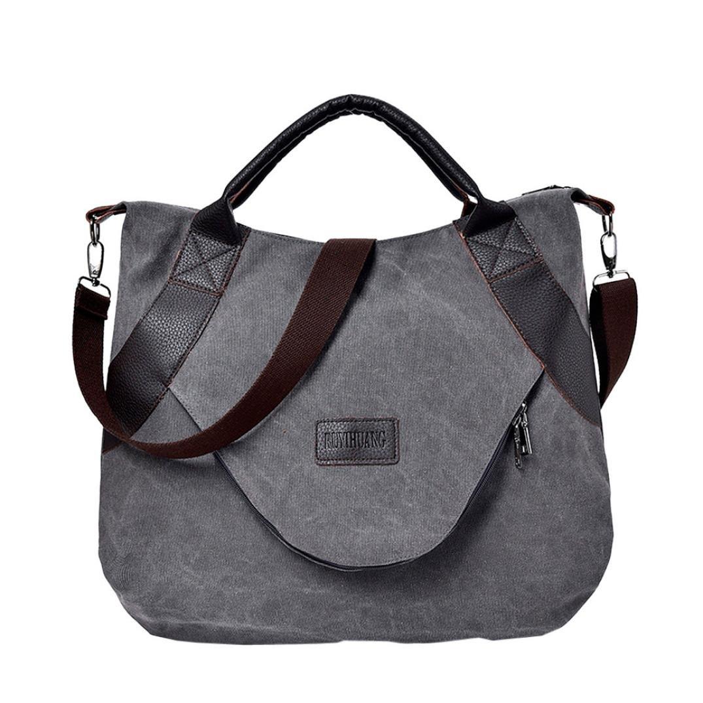 YJYDADA Bag,Retro Women's Canvas Zipper Shoulder Bags With Corssbody Bag&Handbag (Gray)