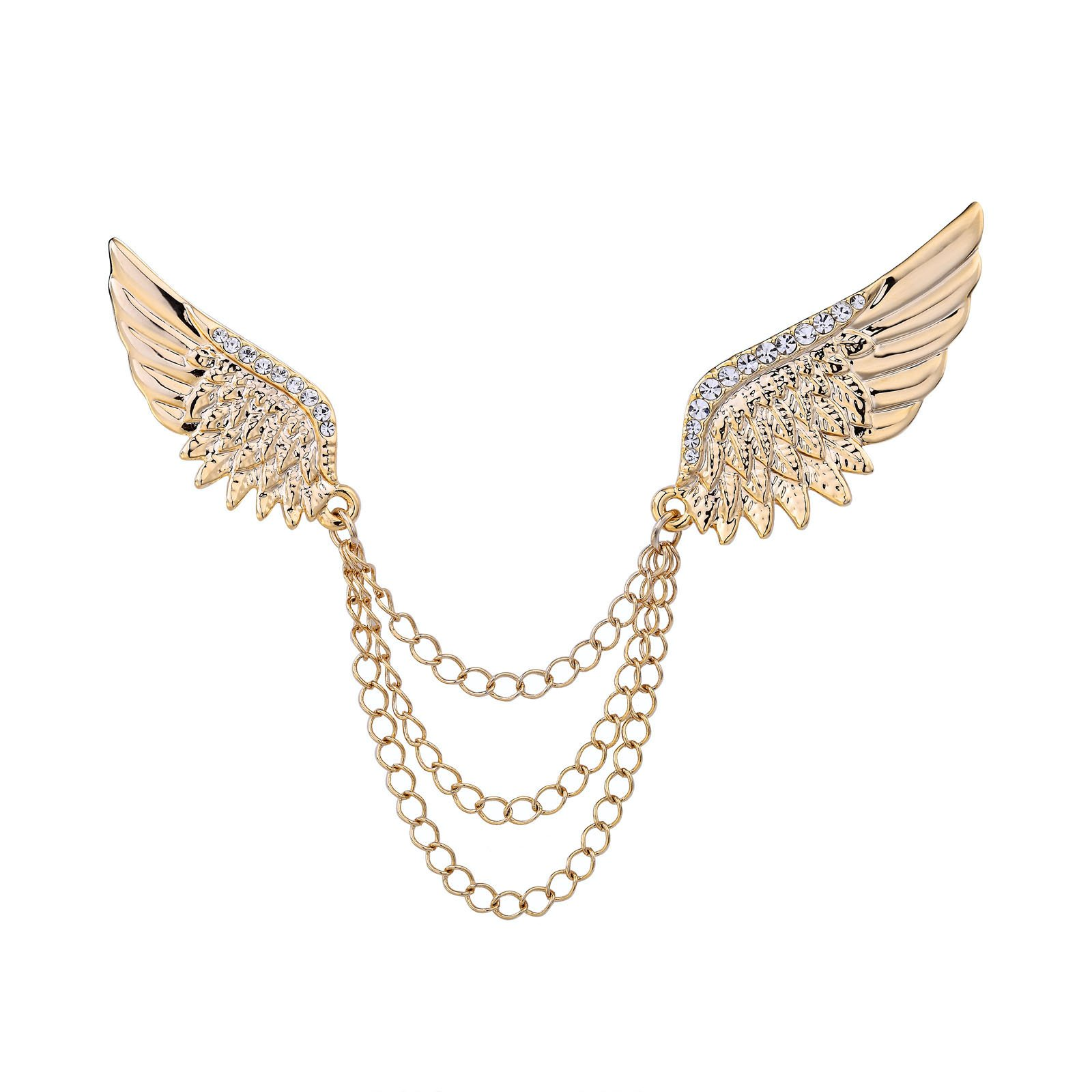 OKAJEWELRY Gold Tone Angel Wings Blouse Shirt Collar Tips Collar Brooch Pin