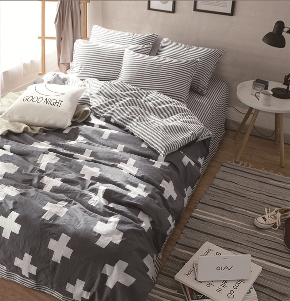TheFit Paisley Textile Bedding for Adult U688 Dark Grey and White Plus Health Duvet Cover Set 100% Cotton, Twin Queen King Set, 3-4 Pieces (Queen)