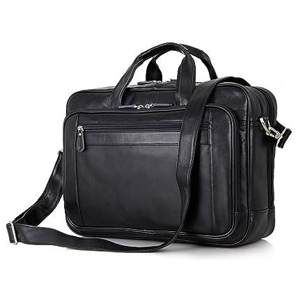 7856f0797 UBAYMAX 17 inch Laptop Bag Vintage Leather Briefcase Messenger Satchel Bag  Shoulder Handbag for Men Laptop Business (17 Black): Amazon.co.uk: Luggage