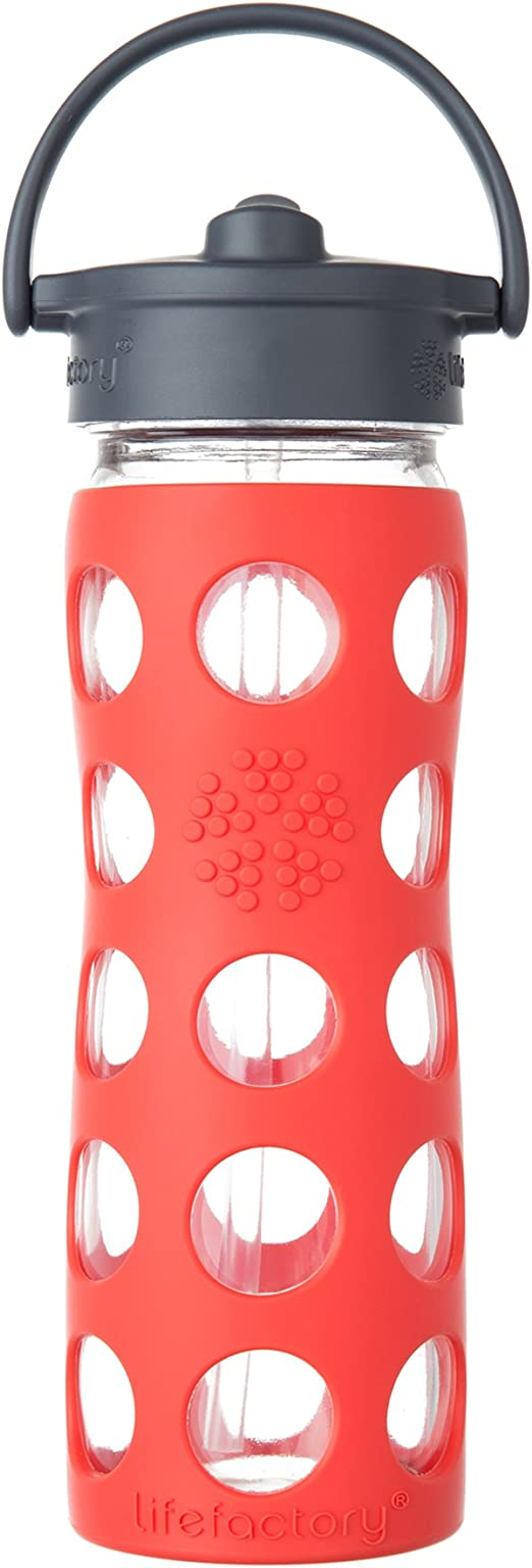 Lifefactory - botella de cristal con tapa de paja y silicona manga ...