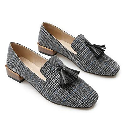 647a51475b382 Amazon.com | Tassel Loafers Women Designer Flats Canvas Boat Shoes Woman  Large Size 4-10.5 Womens Flat Shoes Spring/Autumn | Loafers & Slip-Ons