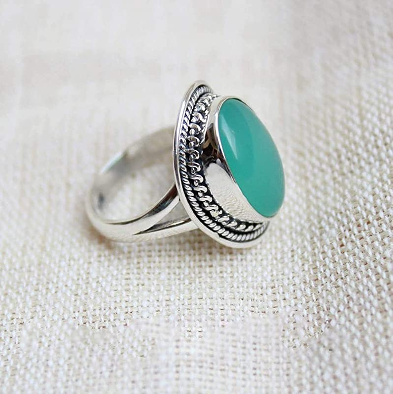 925 Silver Ring Green Onex Tringular  Ring,Women Ring Gemstone Ring Natural Green Onex Ring