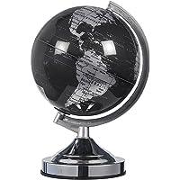 Globo terráqueo político de 20,32 cm negro y plateado – Globo de escritorio giratorio con soporte – Gran regalo educativo para niños, adultos, profesores