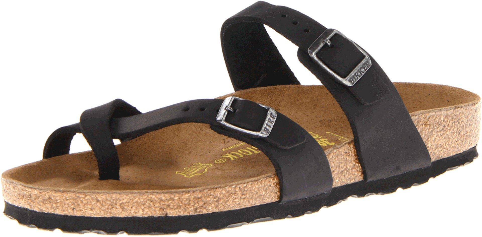 Birkenstock Women's Mayari Leather Thong Sandal,Black,EU Size 40 / Women's US Size 9-9.5