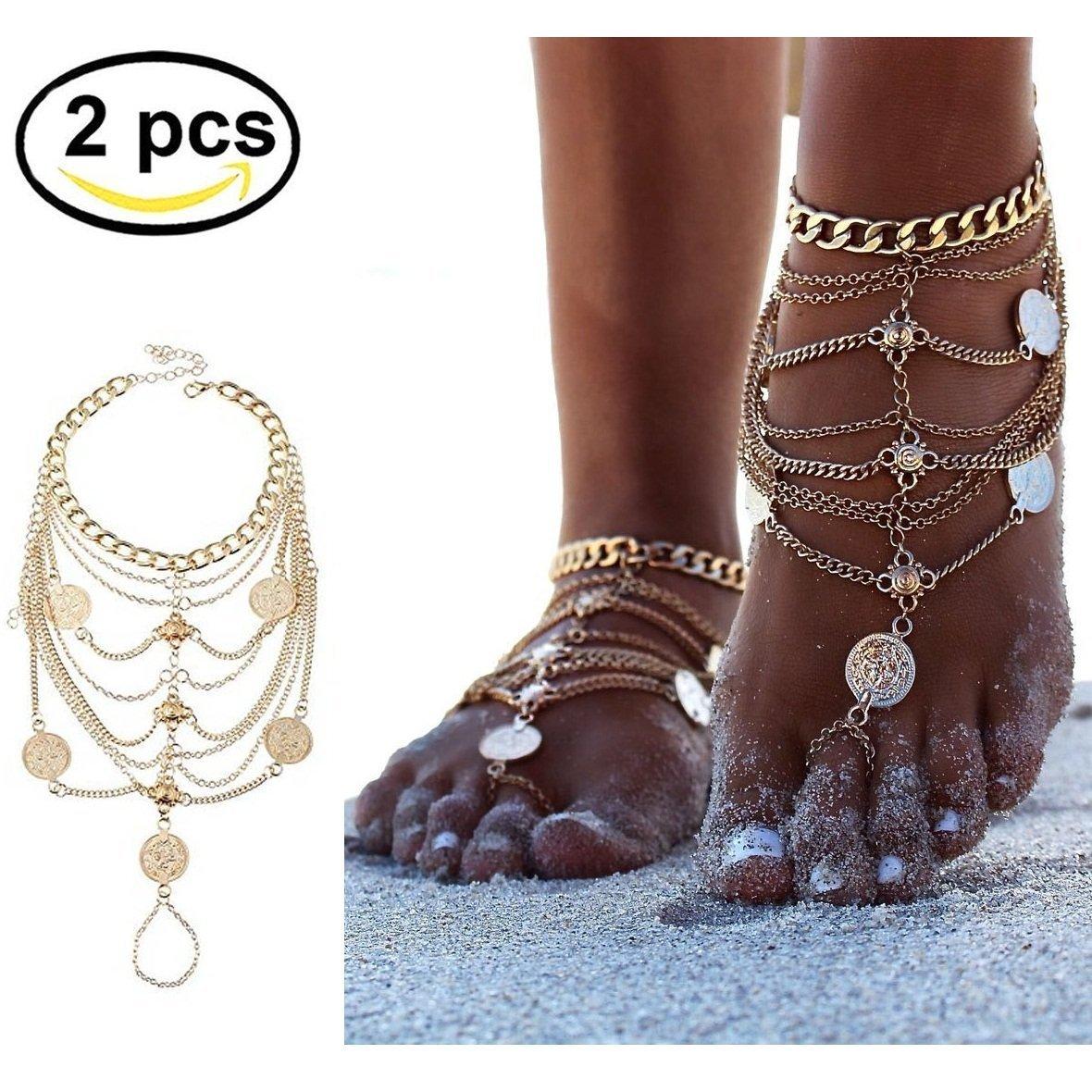 1 paio Boho Vintage gioielli Benedizione Symbol nappa dei calzini del piede EQLEF®