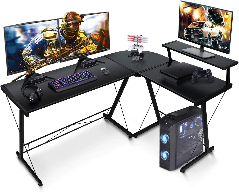 "SIMBR L-Shaped Desk 58.4"" Computer Desk, Corner Gaming Desk with Shelf, Home Office Desk Space-Saving Study Table Writing Workstation, Easy to Assemble, Black"