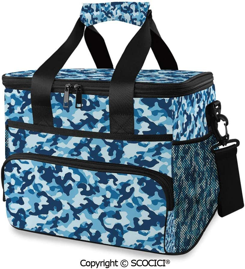 SCOCICI Cooler Cooling Tote Bag Military Infantry Marine Troops Costume Pattern Color Palette Surreal Decorative for Camping, Picnic, BBQ, Family Outdoor Activities