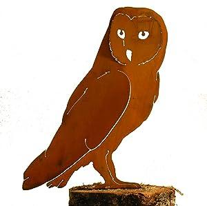 Elegant Garden Design Barn Owl, Steel Silhouette with Rusty Patina
