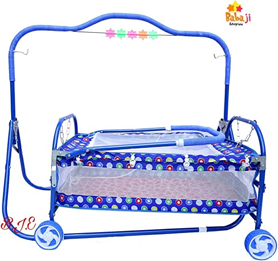 New Born Baby Swing Cradle/Jhula Swing with Mosquito Net(Blue)